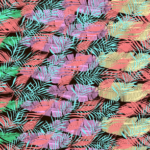 Tropical plant background with colorful abstract palm leaves
