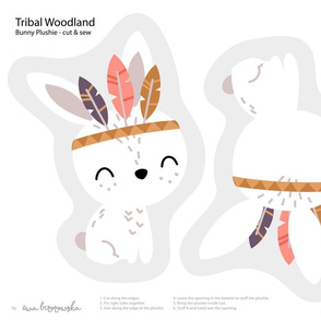 Tribal Woodland - bunny plushie softie cut&sew