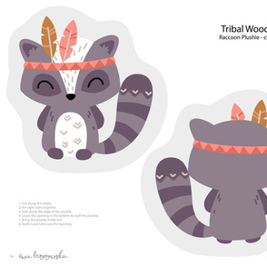 Tribal Woodland - raccoon plushie softie cut&sew