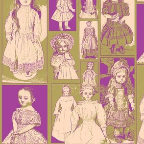 Antique Dolls in Lavender and Olive Green