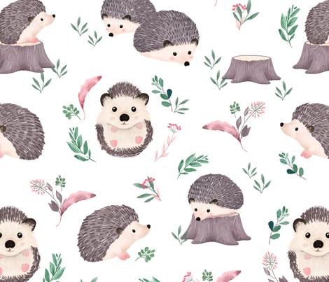 Watercolor Hedgehog fabric by ewa_brzozowska on Spoonflower - custom fabric