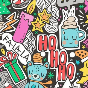 Crazy Holidays Winter Things Christmas Fabric Doodle  Blue & Pink Larger