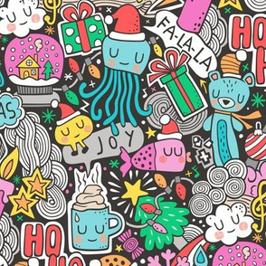 Crazy Holidays Winter Things Christmas Fabric Doodle  Blue & Pink