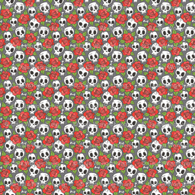 Skulls and Roses Red on Dark Grey Tiny Small