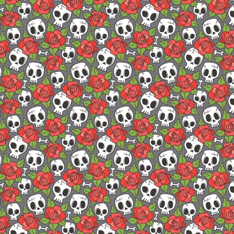 Skulls and Roses Red on Dark Grey Tiny Small fabric by caja_design on Spoonflower - custom fabric