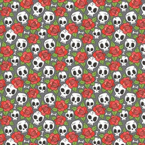 Skulls and Roses Red on Dark Grey Tiny Small