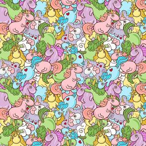 Cute pattern with multi-colored unicorns