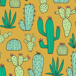 Cactus on Mustard Yellow