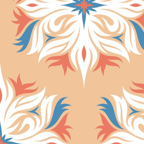 Pastel colors floral hexagons, large scale