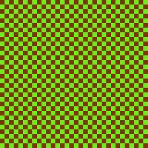 CD1 - Tiny  Lime and Rusty Brown  Checkerboard