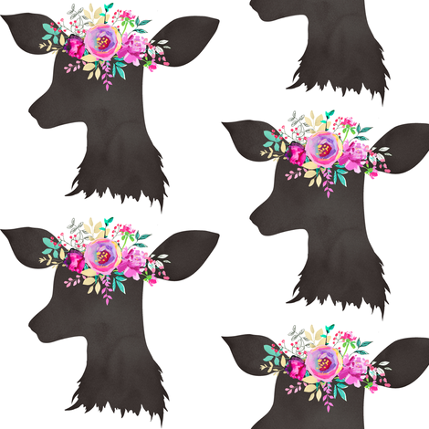 MPG Bouquet 4 Deer no Antlers fabric by greenmountainfabric on Spoonflower - custom fabric