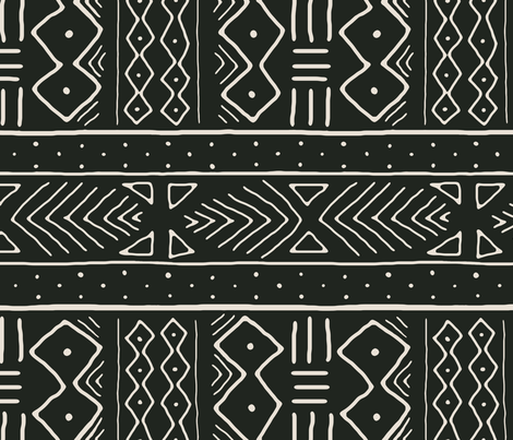 Mudcloth in Bone on Black railroaded fabric by domesticate on Spoonflower - custom fabric