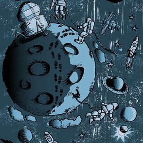 Landing on the Moon: Astronauts Comic Art (blue)