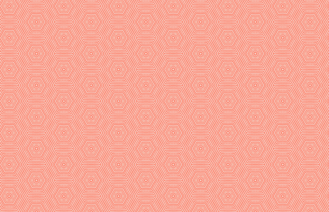 Concentric Hexagons M+M Coral by Friztin fabric by friztin on Spoonflower - custom fabric