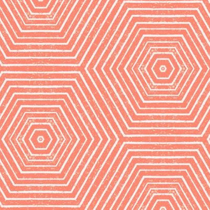 Concentric Hexagons M+M Coral by Friztin