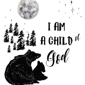 "27""x36"" I am a child of God Bears / 2 to 1 Yard of Minky"