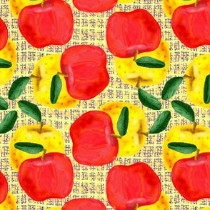 Red and Yellow Apples on Yellow Mesh