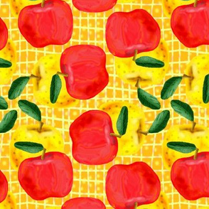 Red and Yellow Apples on Golden Yellow Mesh