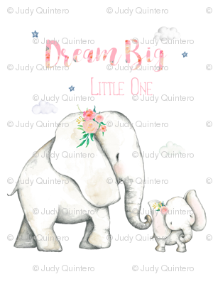 """27""""x36"""" Dream Big Little One Pink Floral Elephant 2 to 1 Yard of Minky"""
