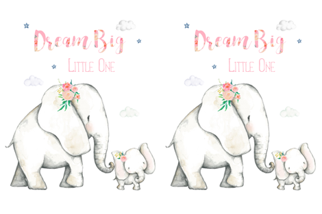 """27""""x36"""" Dream Big Little One Pink Floral Elephant 2 to 1 Yard of Minky fabric by shopcabin on Spoonflower - custom fabric"""