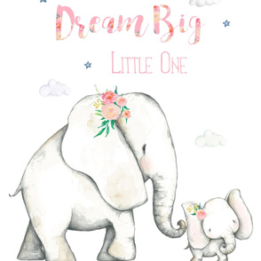 "27""x36"" Dream Big Little One Pink Floral Elephant 2 to 1 Yard of Minky"