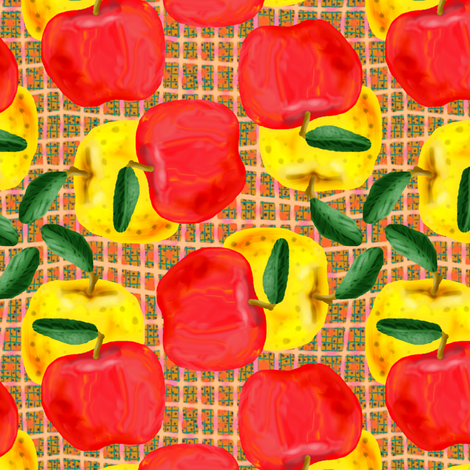 Red and Yellow Apples on Peach and Green Mesh fabric by eclectic_house on Spoonflower - custom fabric
