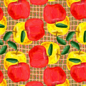 Red and Yellow Apples on Peach and Green Mesh