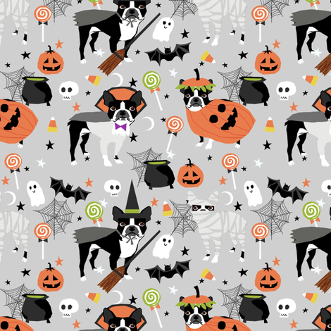 boston terrier halloween dog costume, halloween dog, dog breed, witch, pumpkin, candy, cute dog - grey fabric by petfriendly on Spoonflower - custom fabric