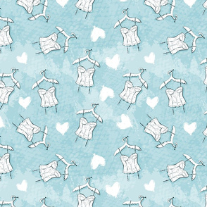 Seamless geometric pattern with corset and hearts. Repeating texture