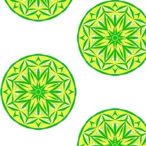 Sunray Spots of Lemon and Green - Large