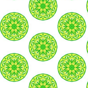 Sunray Spots of Lemon and Green - Small Scale