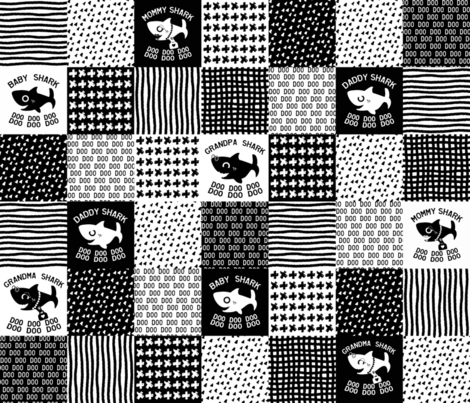 Baby Shark Family Cheater Quilt black and white fabric by littleliteraryclassics on Spoonflower - custom fabric