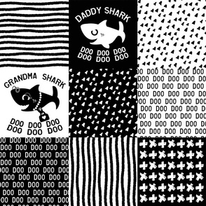 Baby Shark Family Cheater Quilt black and white