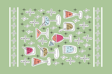 retro cocktail mix fabric by diseminger on Spoonflower - custom fabric
