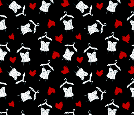 Seamless geometric pattern with corset and hearts. Repeating texture fabric by yuliya_art on Spoonflower - custom fabric