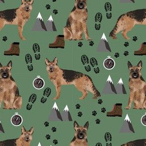 german shepherd hiking dog print mountain, hiking, footprints, paw prints - green