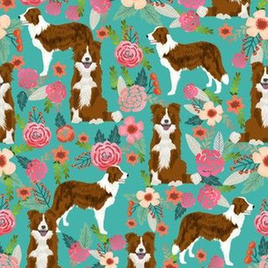 red border collie dog florals - floral dog, turquoise