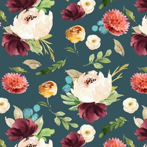 Burst of Autumn Florals // Spectra Teal