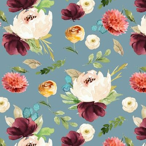 Burst of Autumn Florals // Gumbo Blue