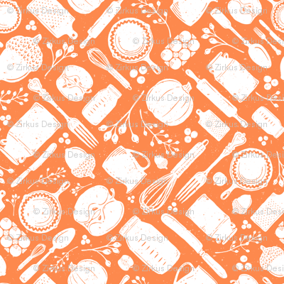 Orange + White Fall Vintage Baking Diagonal // Sing for Your Supper Fall-Autumn Edition // Kitchen Memories (RR for fat quarter tea towels)