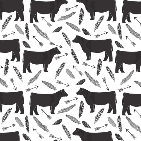 steer black and white feathers and arrows - cattle, cow, farm, cute boho design fabric by petfriendly on Spoonflower - custom fabric