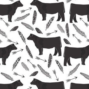 steer black and white feathers and arrows - cattle, cow, farm, cute boho design
