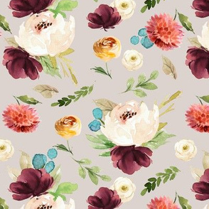 Burst of Autumn Florals // Swirl Gray