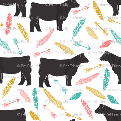 steer turquoise, coral and yellow feathers and arrows - cattle, cow, farm, cute boho design