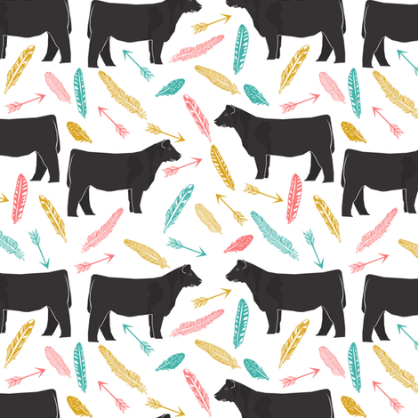 steer turquoise, coral and yellow feathers and arrows - cattle, cow, farm, cute boho design fabric by petfriendly on Spoonflower - custom fabric