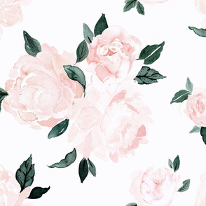 vintage pink floral-blue green leaves-white