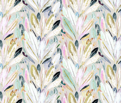 Feather Leaves pastel fabric by crystal_walen on Spoonflower - custom fabric