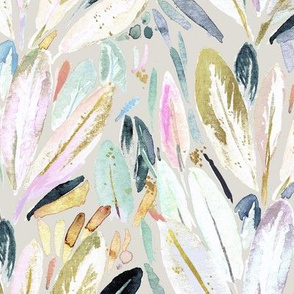 Pastel Shimmer Feather Leaves on Gray