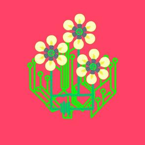 Bright as a daisy bag panel - watermelon