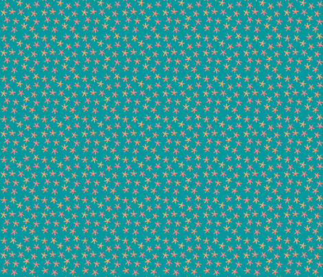 Sea Stars Teal S fabric by aspenandspruce on Spoonflower - custom fabric